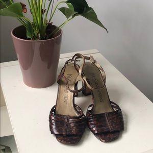 Vintage YSL Tortoise Shell Print Strappy Heels